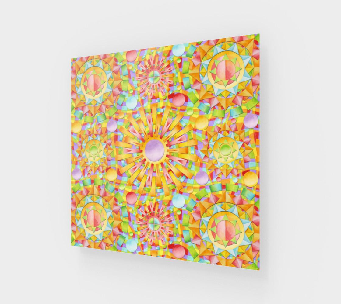 Candy Rainbow Mandala Wood Print preview #1