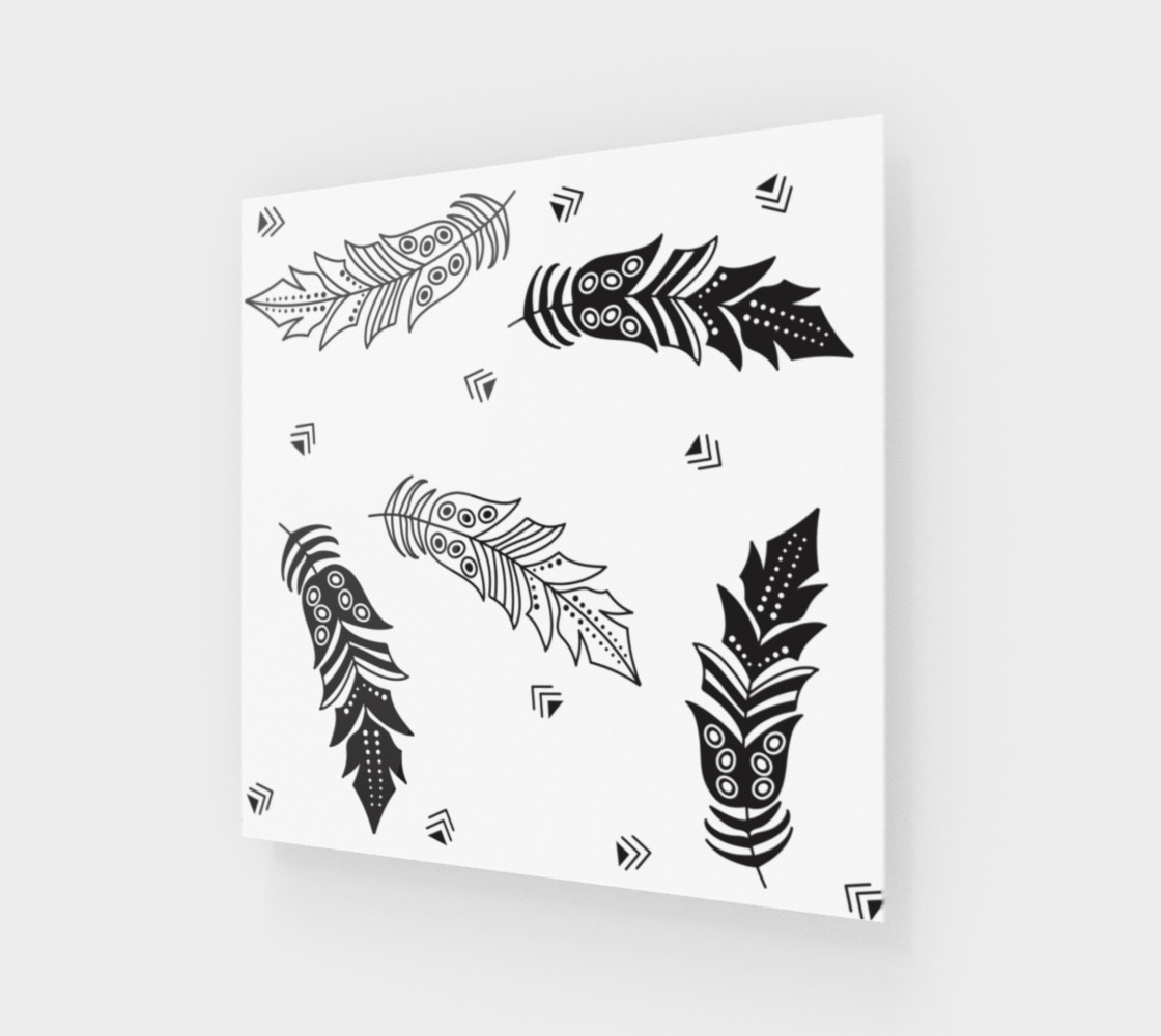 Black & White Feather Wall Art preview #1