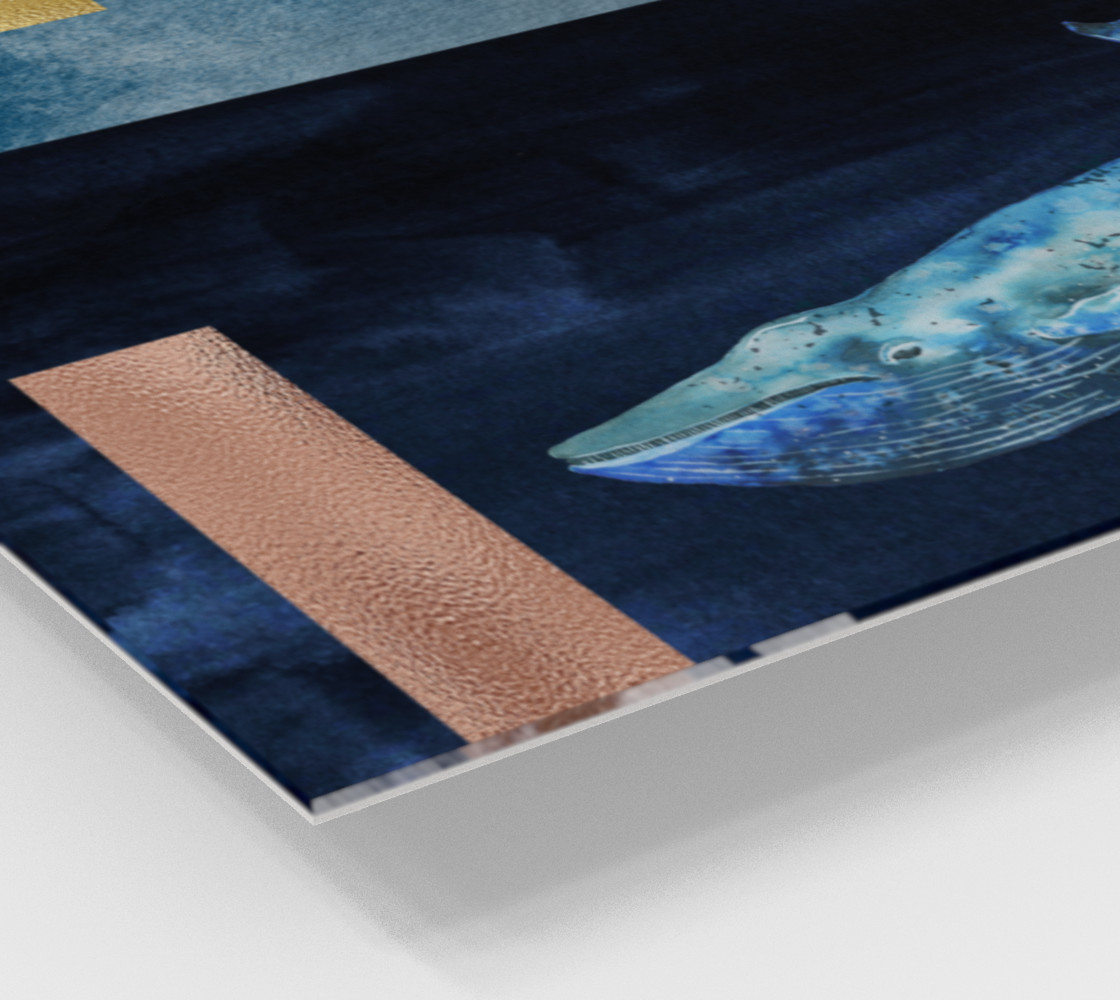 Blue Whale - Gold, Copper And Deep Blue Art Print thumbnail #3