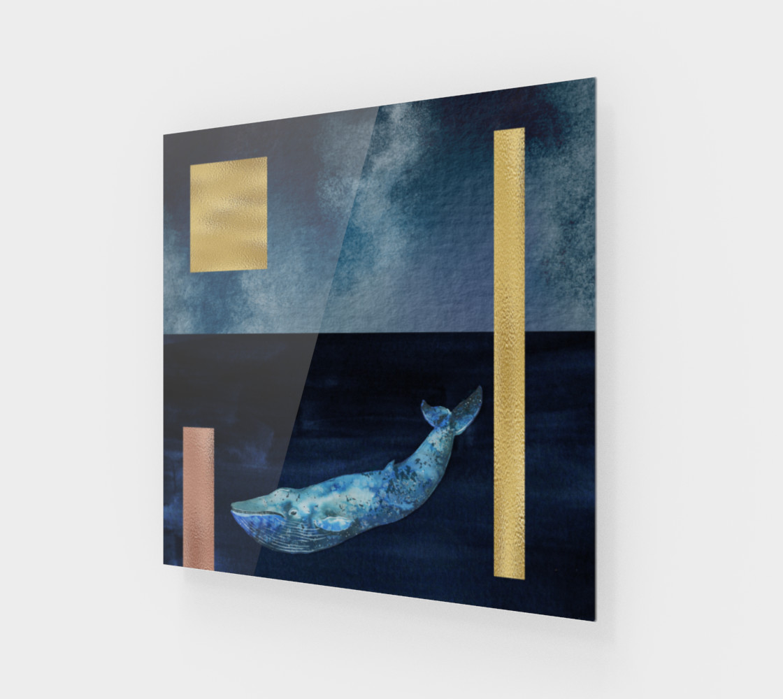 Blue Whale - Gold, Copper And Deep Blue Art Print 3D preview