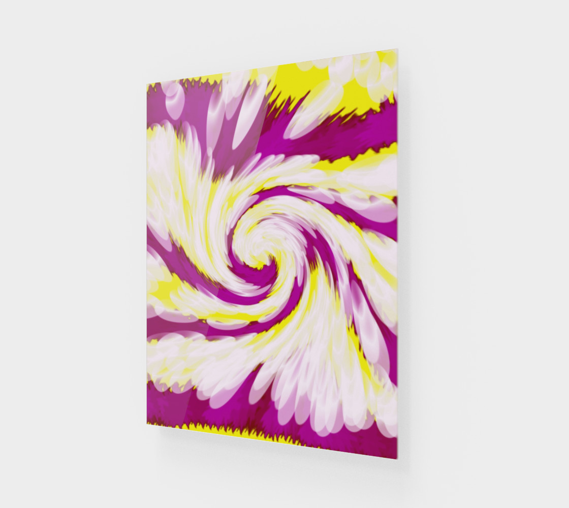 Bright Pink Yellow Swirl Abstract preview #1