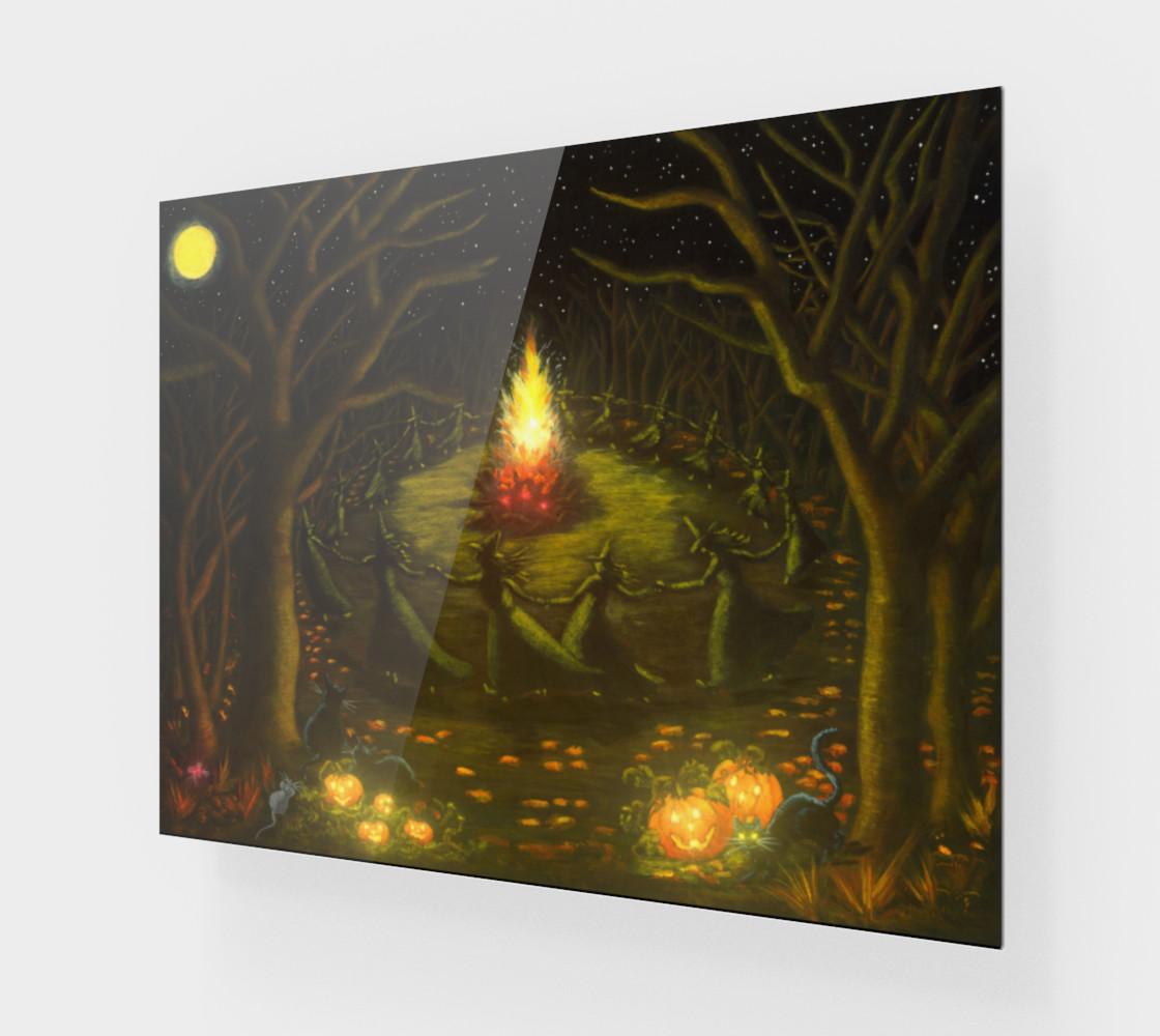 Aperçu de Halloween witches coven around a bonfire art print #1
