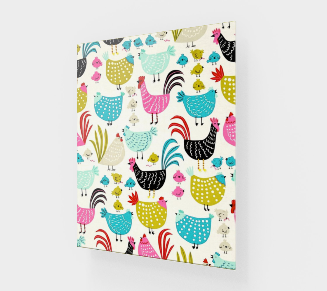 Colorful Fun Chicken & Rooster Print preview #1