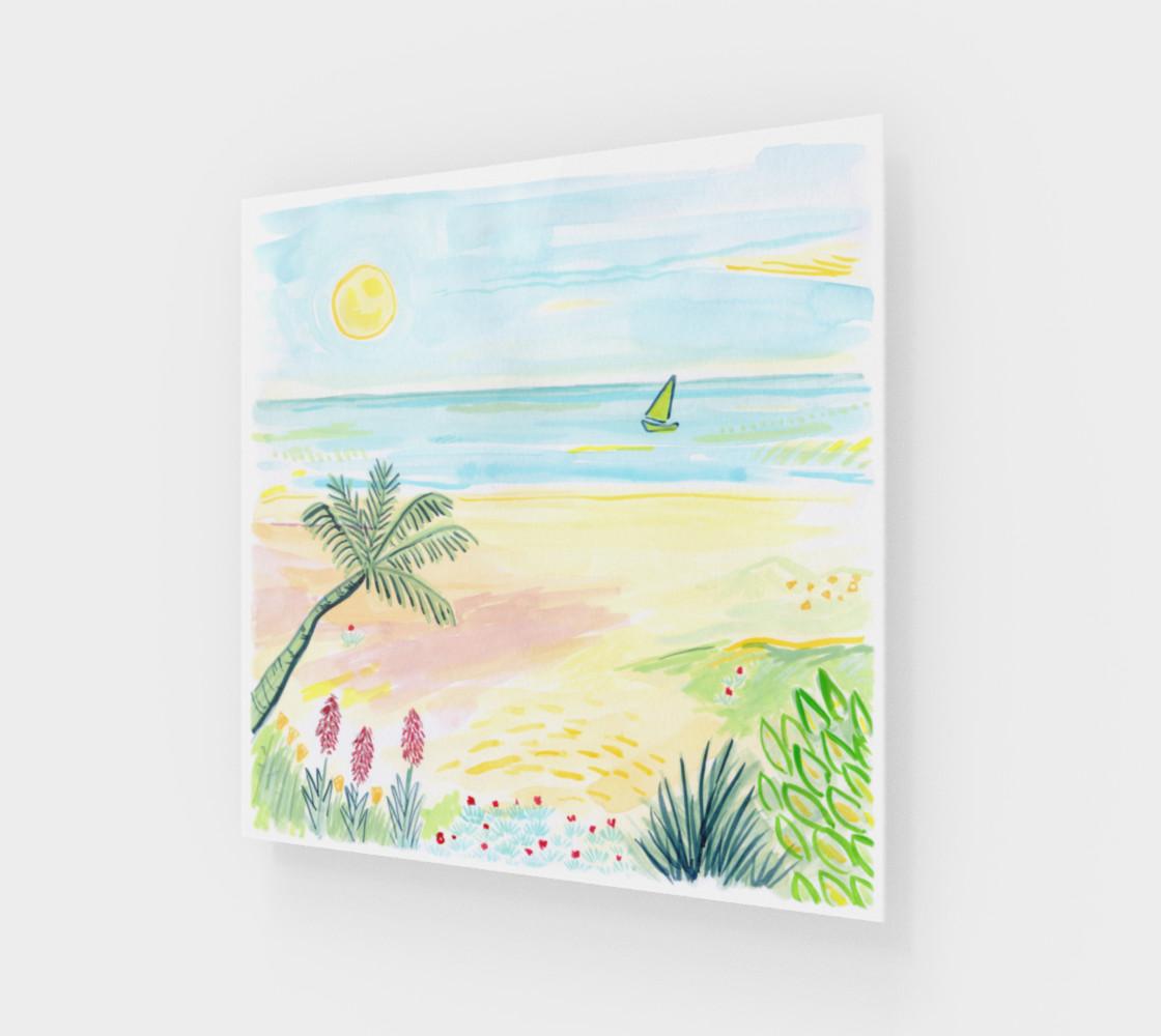 Beach Day Watercolor Fine Art Print preview #1