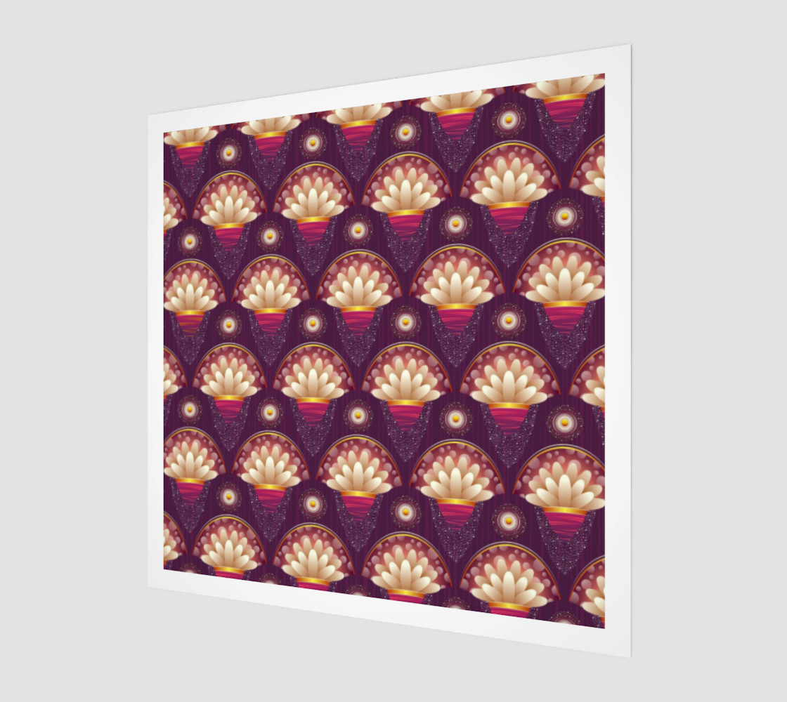 Purple and Beige Scallops Wall Art poster art print canvas wood print preview #1