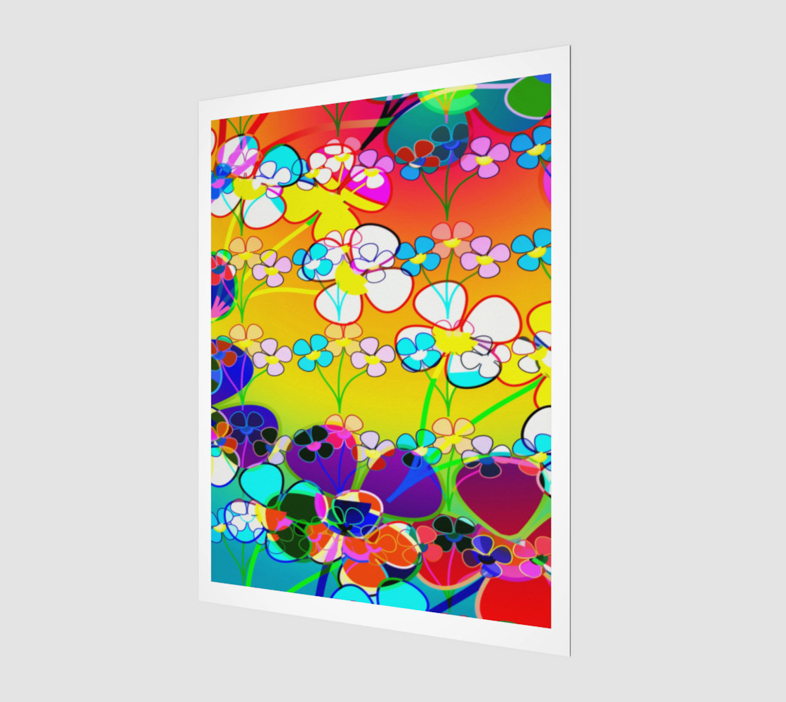 Aperçu de  Abstract Colorful Flower Art Yellow Background Poster #1