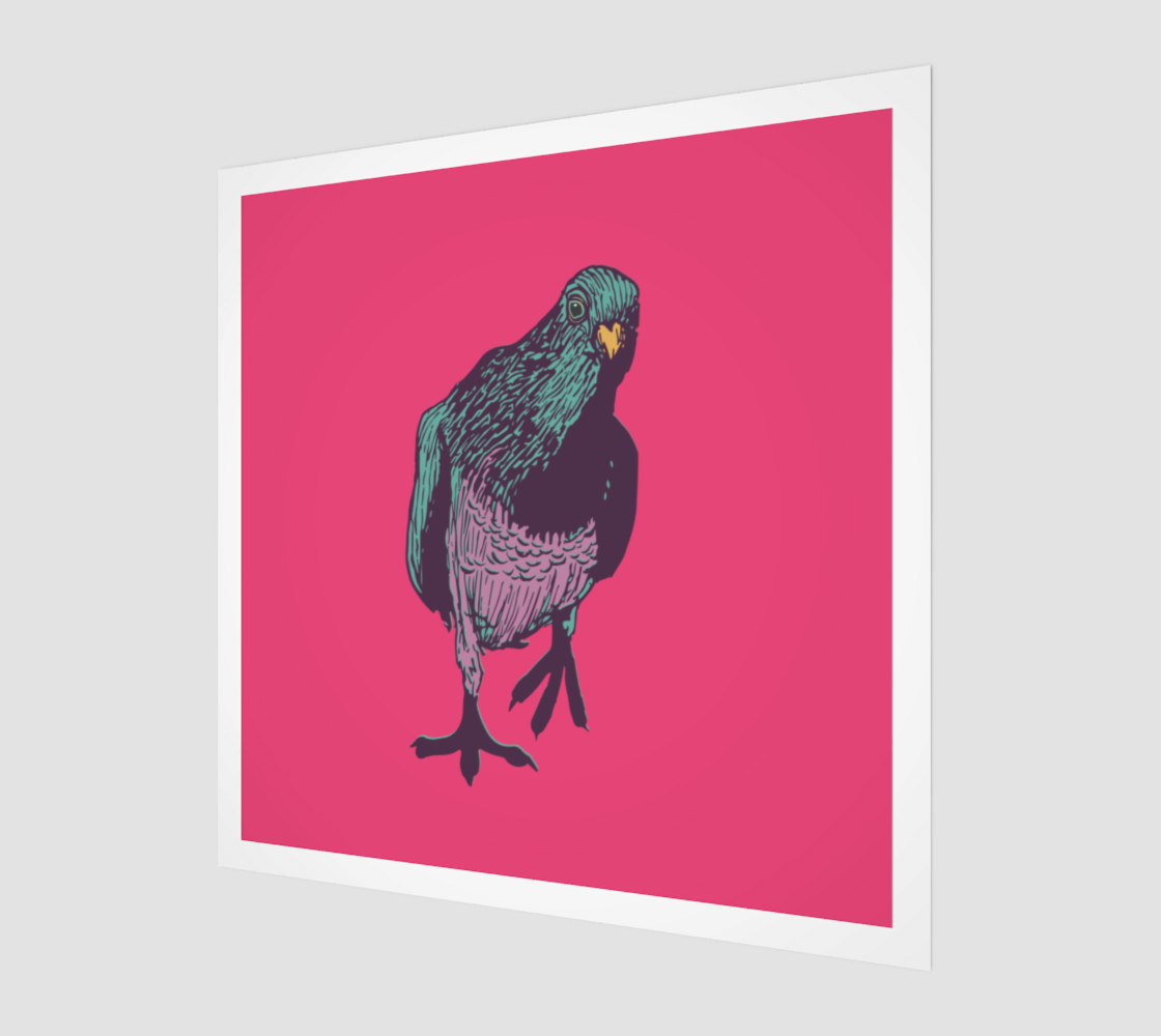 1:1 Art Print - Curious Pigeon in Bright preview #1