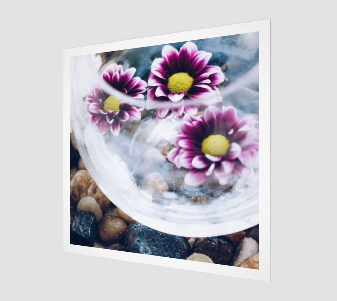 Purple Daisies Zen Wall Art 3D preview