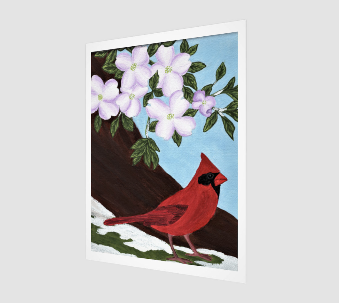 Cardinal and Dogwood Tree preview #1
