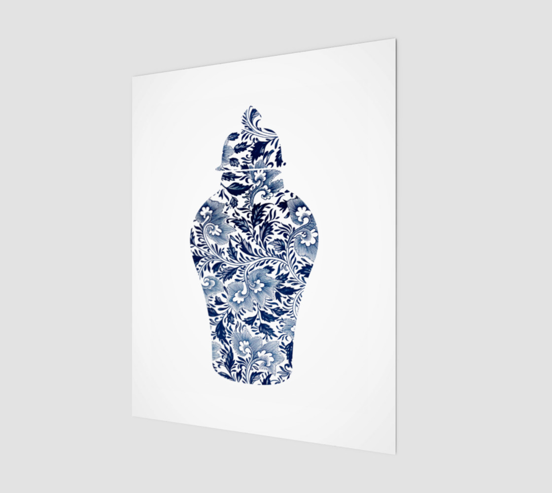 Aperçu de Chinoiserie Ginger Jar - Blue and White Floral - 11 x 14 - Wood Print #1