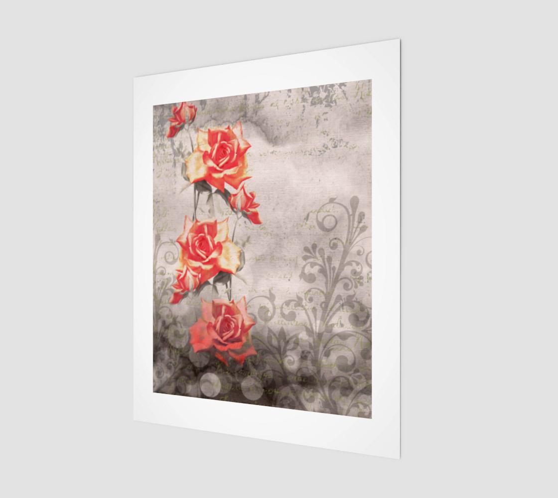 Aperçu de Vintage Red Rose Grey Floral Wall Art #1