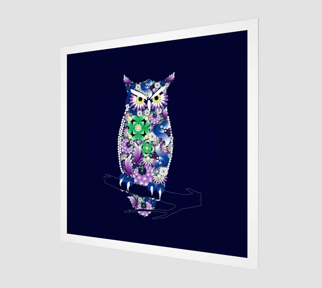 Owl. Illustration in Ukrainian traditional folk painting Petrykivka art . Petryakovka painting preview #1