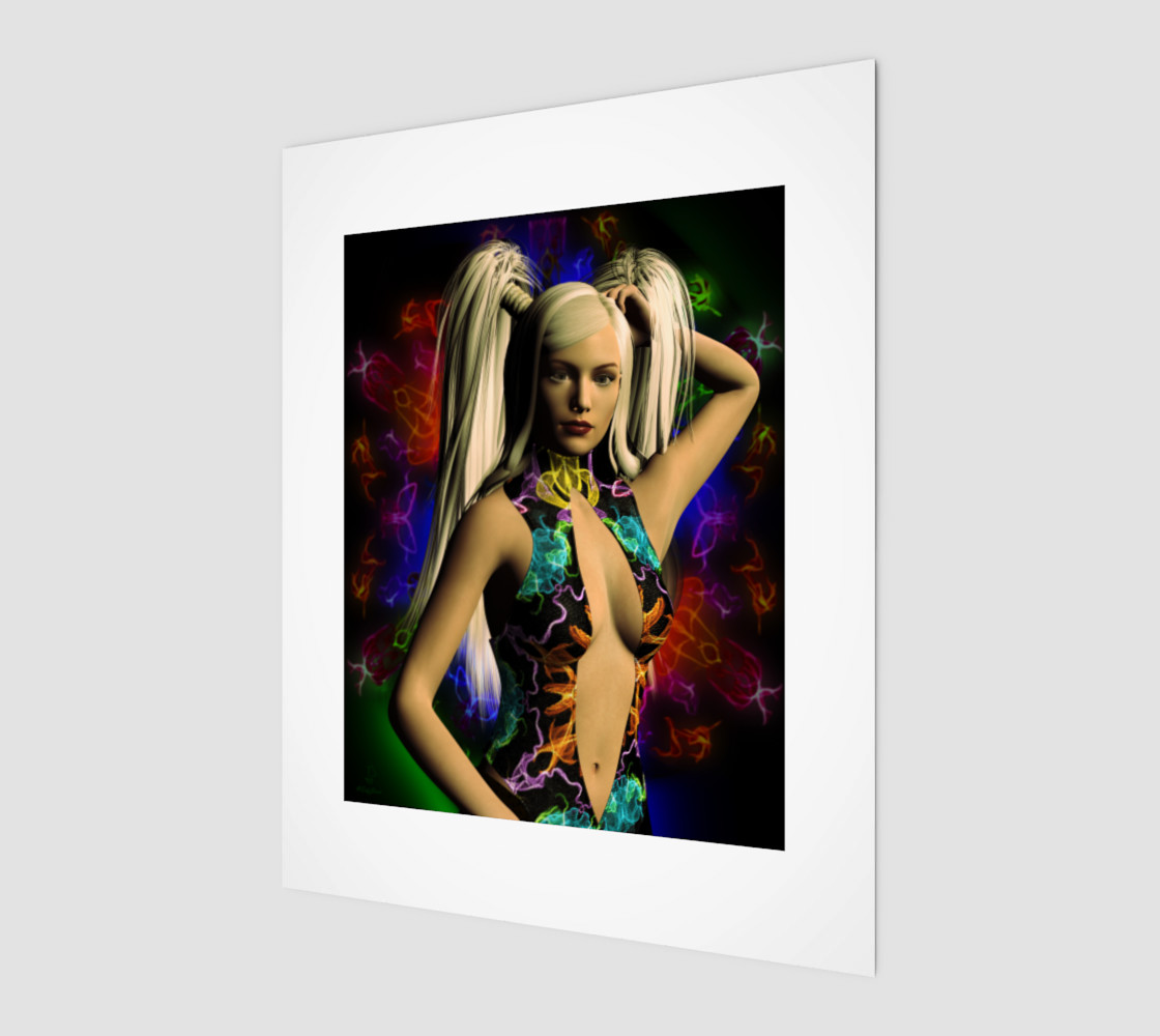Electric Rainbow fantasy art pinup by tabz Jones preview #1