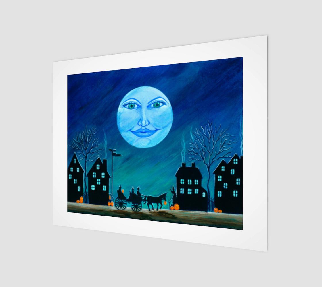 Aperçu de Halloween moon face art print #1