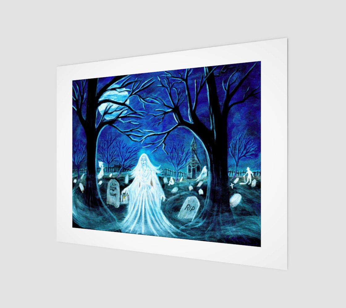 Aperçu de Halloween ghosts in graveyard art print #1