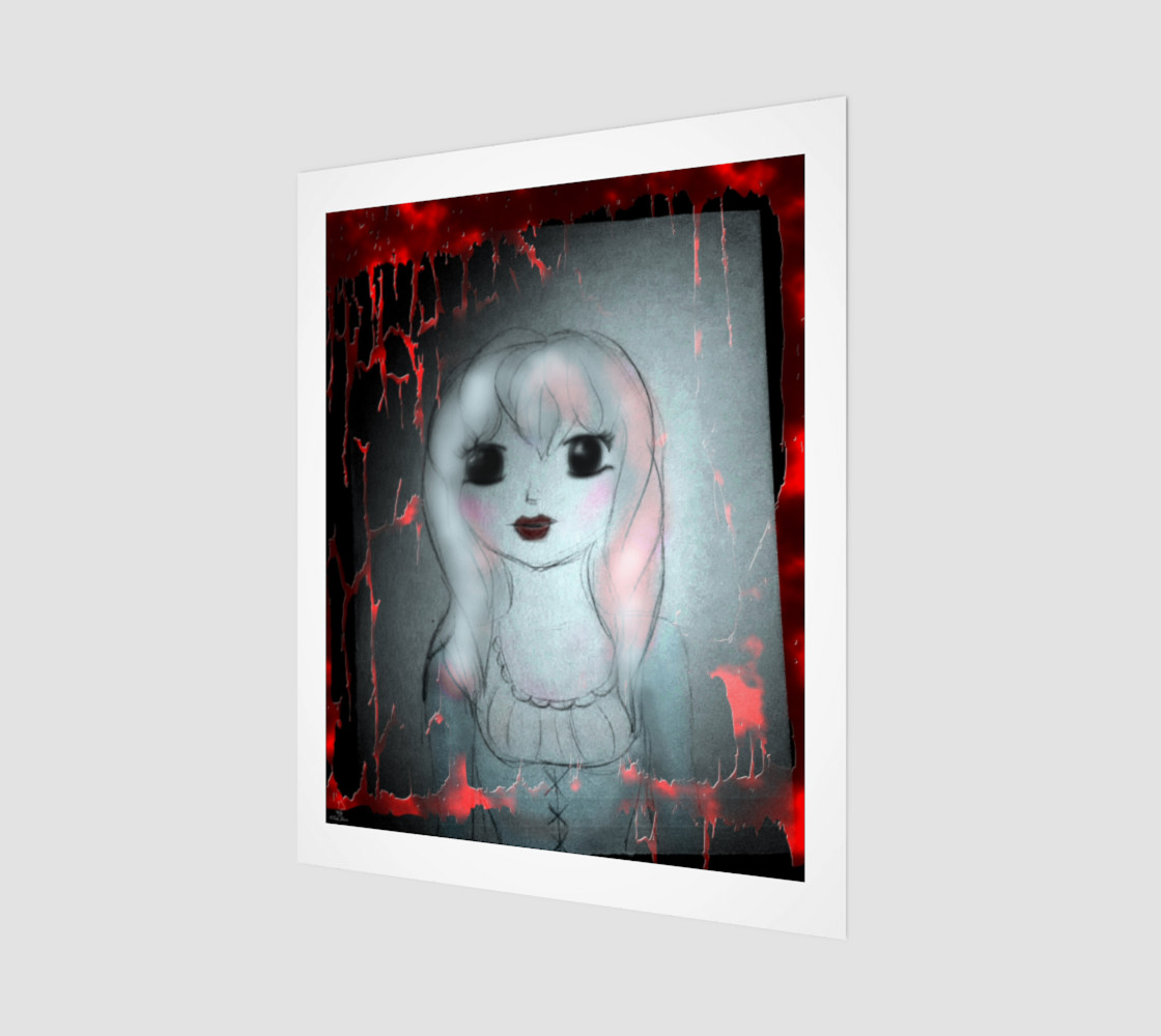 Ghost Girl Mixed Media Gothic art by Tabz Jones preview #1
