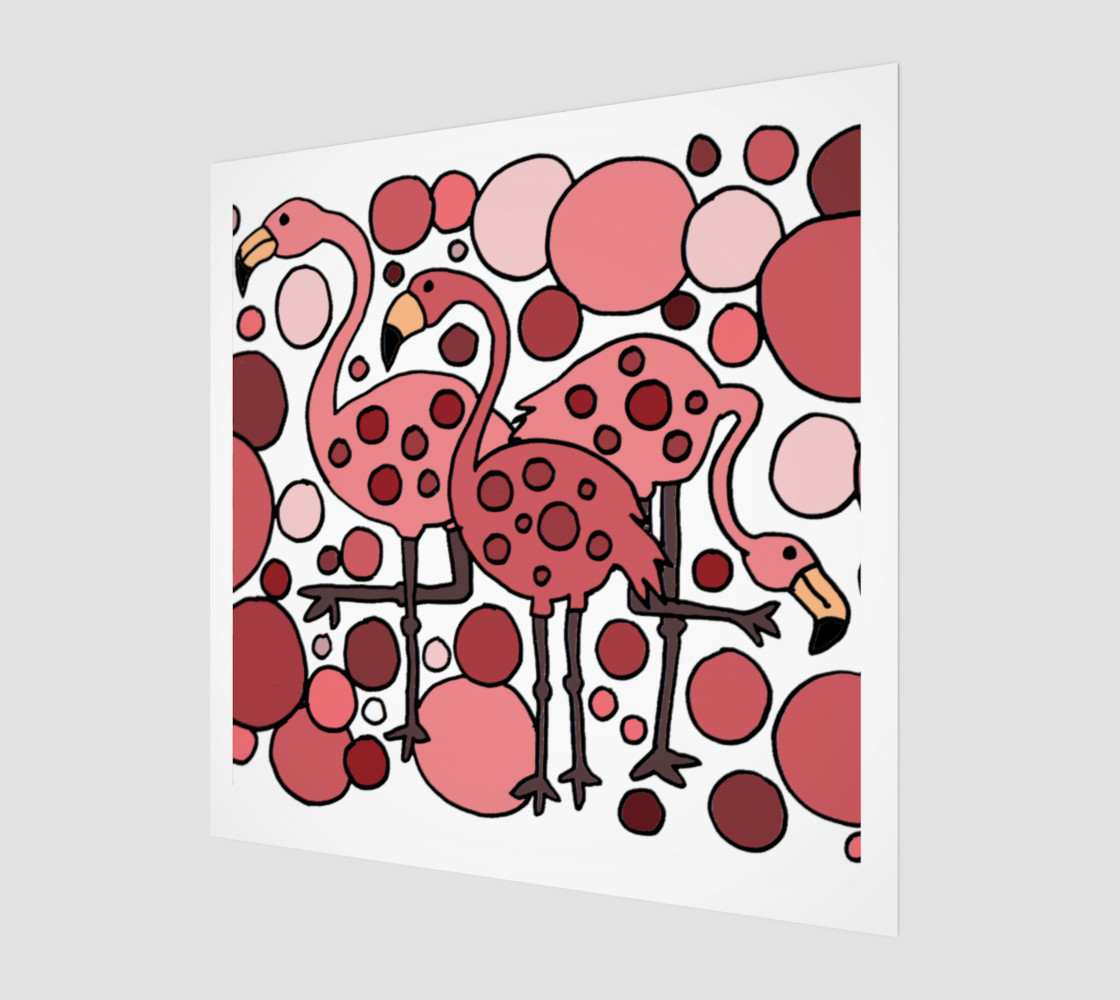 Funny Pink Flamingo Birds Abstract Art preview #1