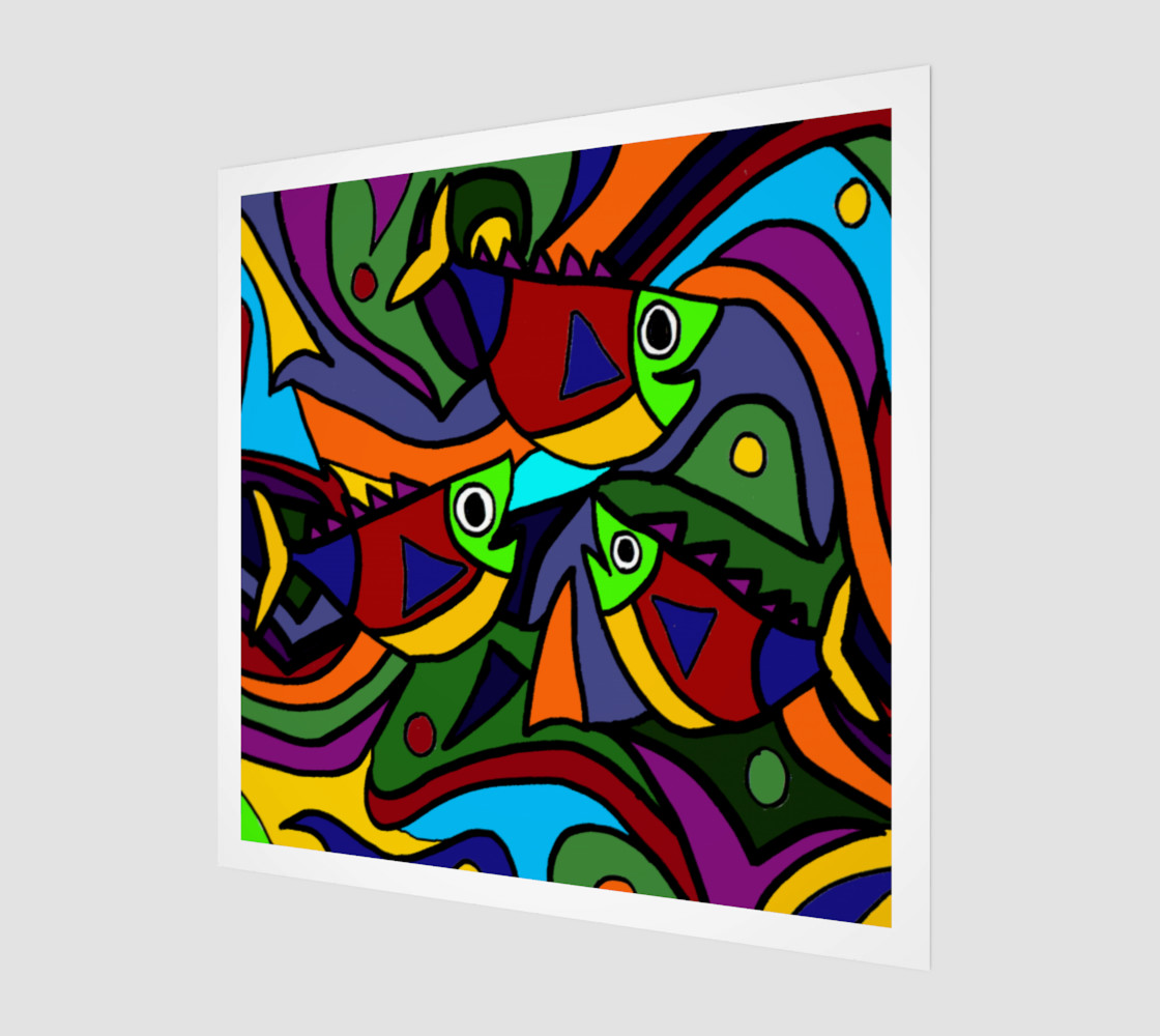 Aperçu de Funny Colorful Fish Abstract Art #1