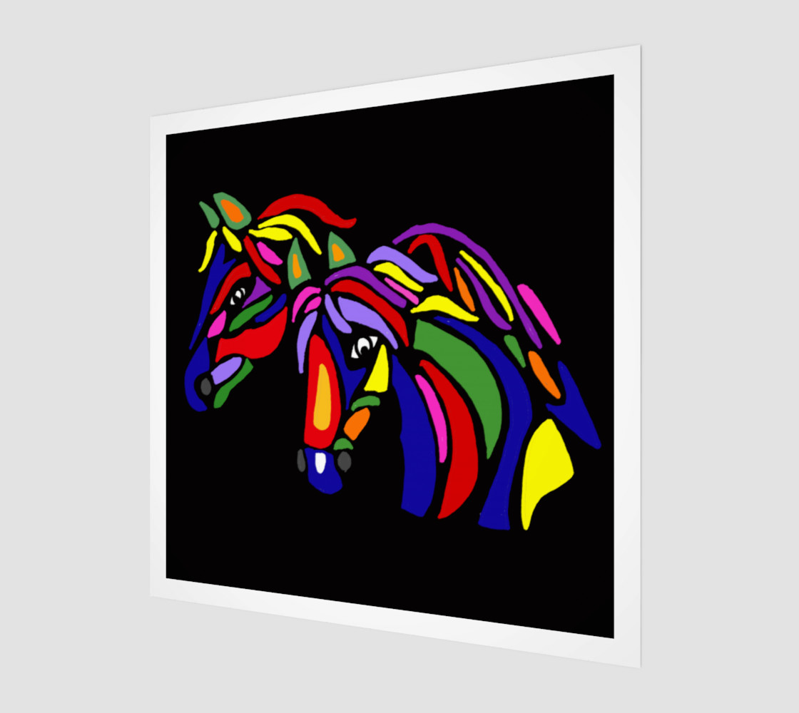 Colorful Horses Abstract Art Miniature #2