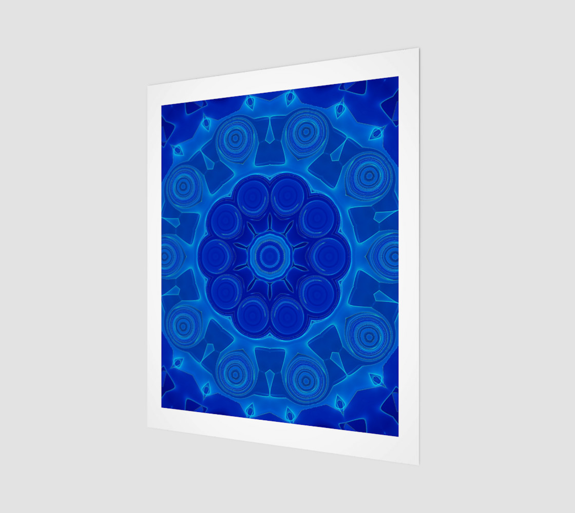 Blue Mandala Flower Art Wood Print preview #1