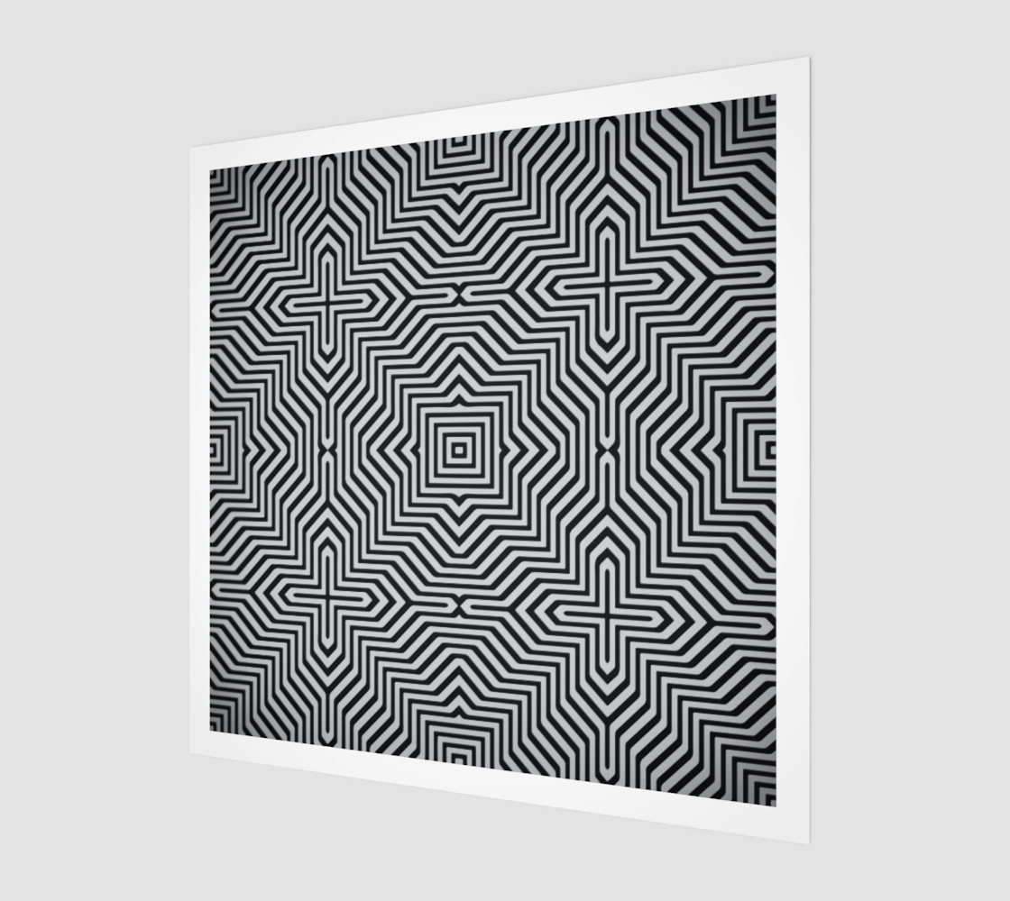 Minimal Geometrical Optical Illusion Style Pattern in Black & White  preview #1