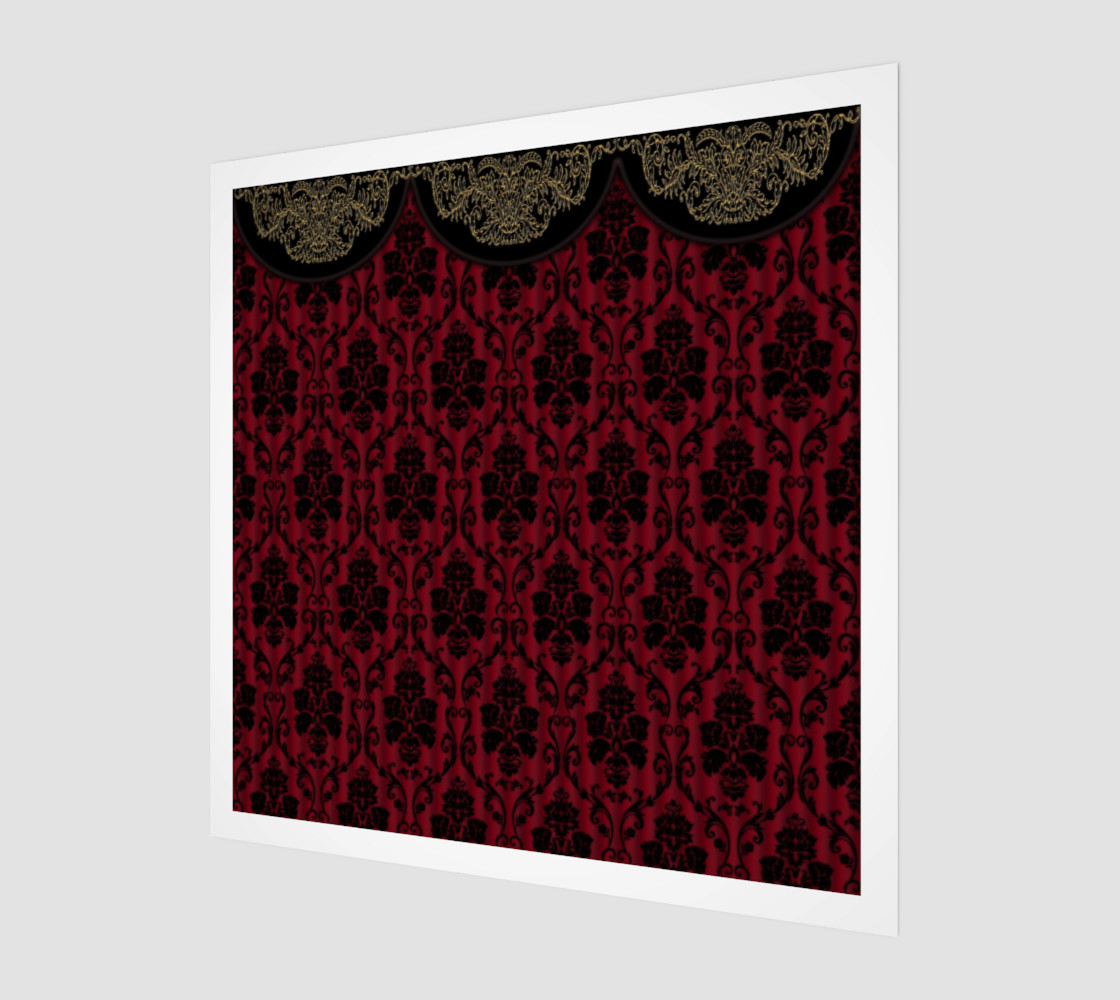 Elegant Black And Red Damask Antique Vintage Victorian Lace preview #1