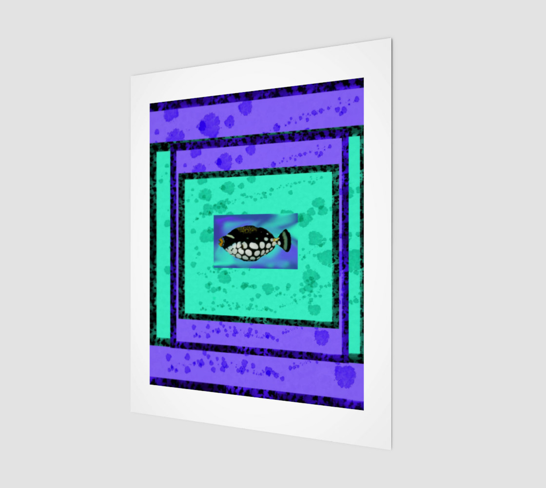 Tropical Fish on Turquoise & Purple Miniature #2