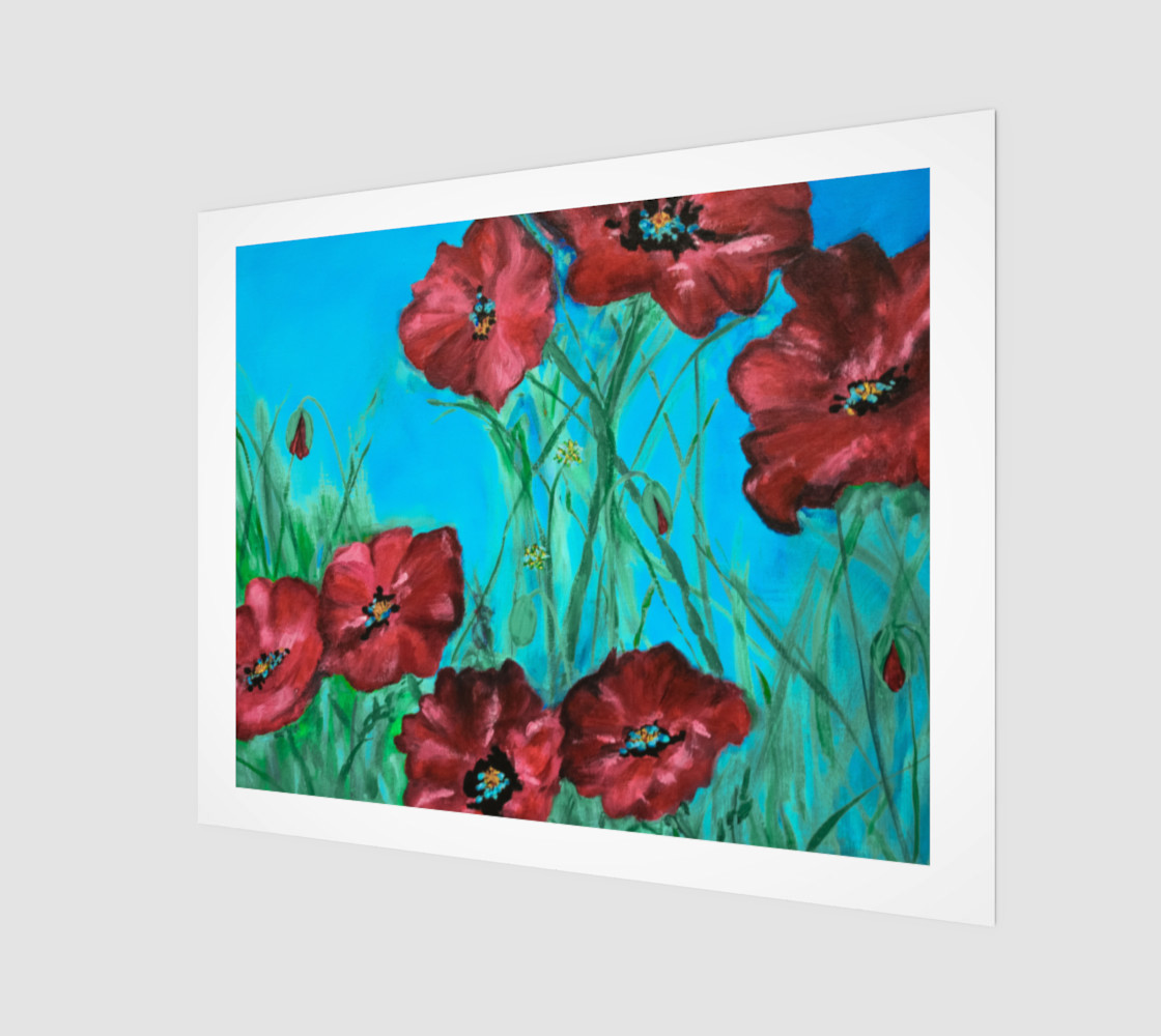 Big Red Floral Poppies 20 x 16 preview #1