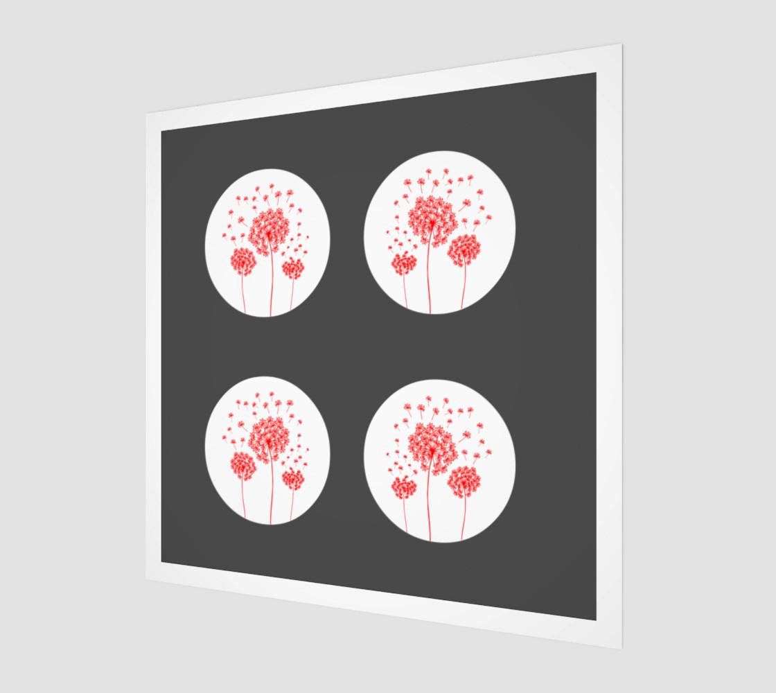 Aperçu de Contemporary Red & Gray Dandelion Print #1