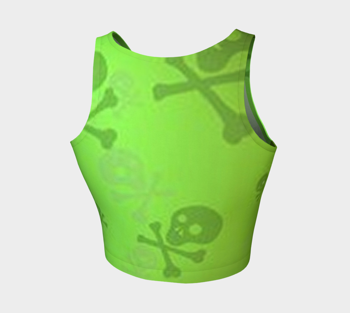 Cartoon Skull On Green Athletic Crop Top preview #2