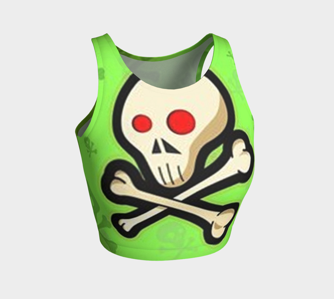 Cartoon Skull On Green Athletic Crop Top preview #1
