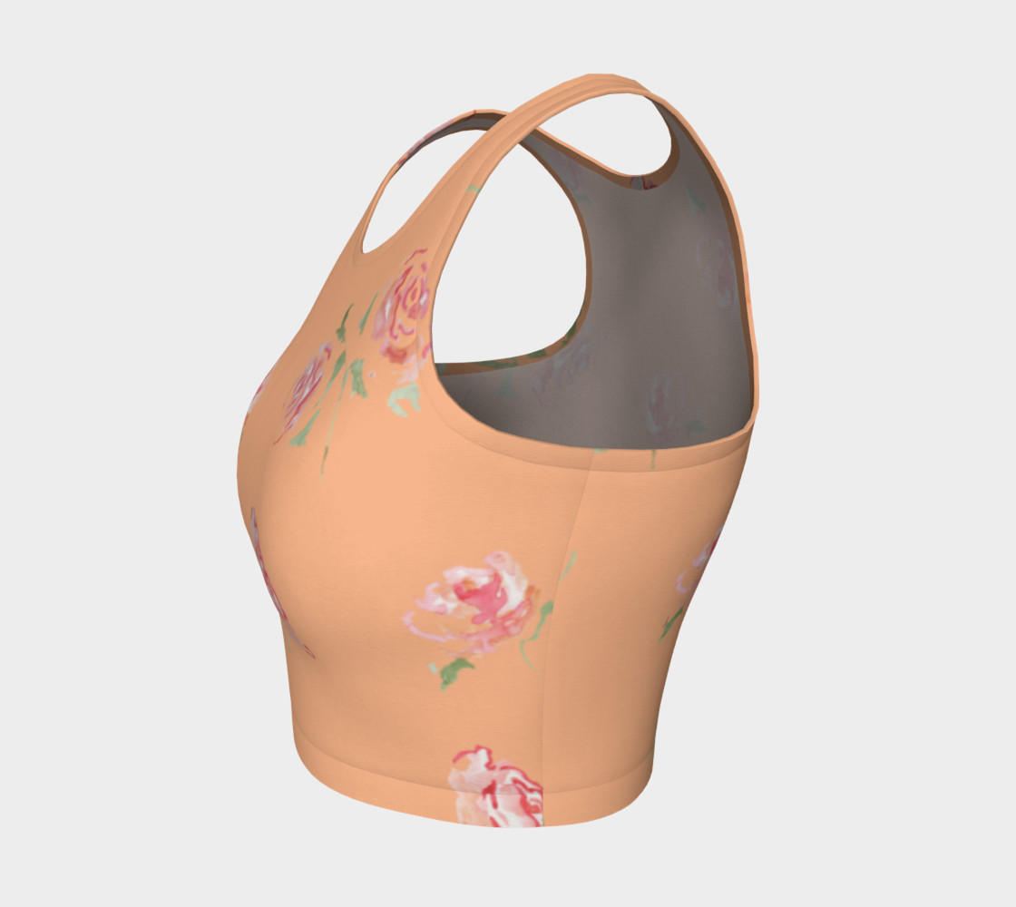 peach and pink floral print crop top preview #3