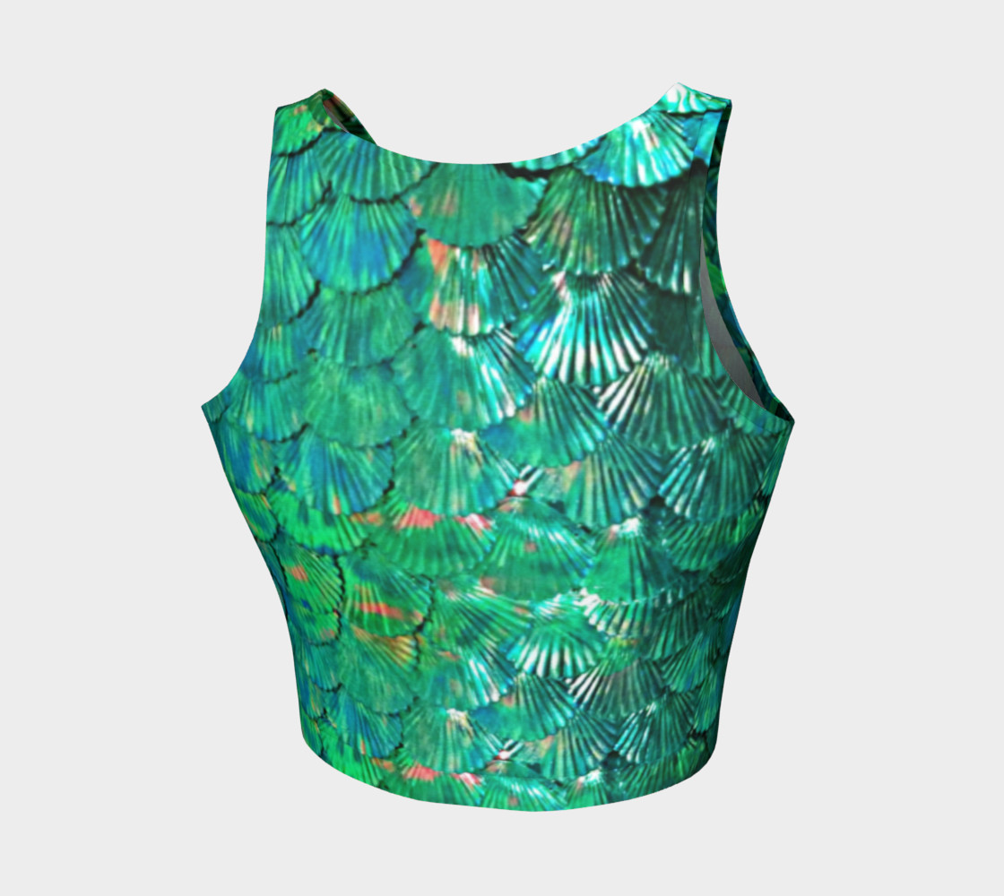 Mermaid Shell Green Scale Crop Top preview #2