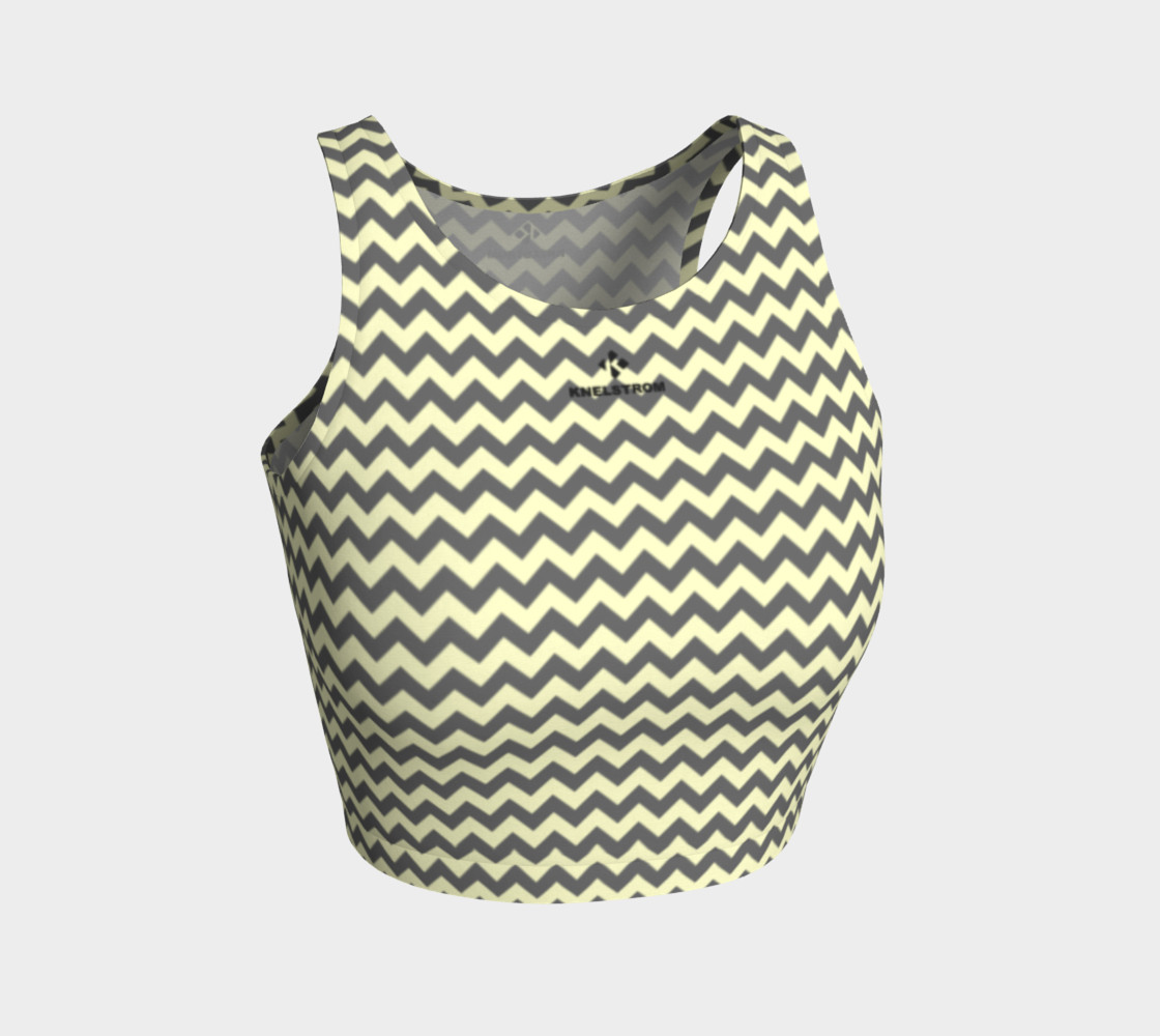 GREY & LINEN CHEVRON ATHLETIC CROP TOP 3D preview