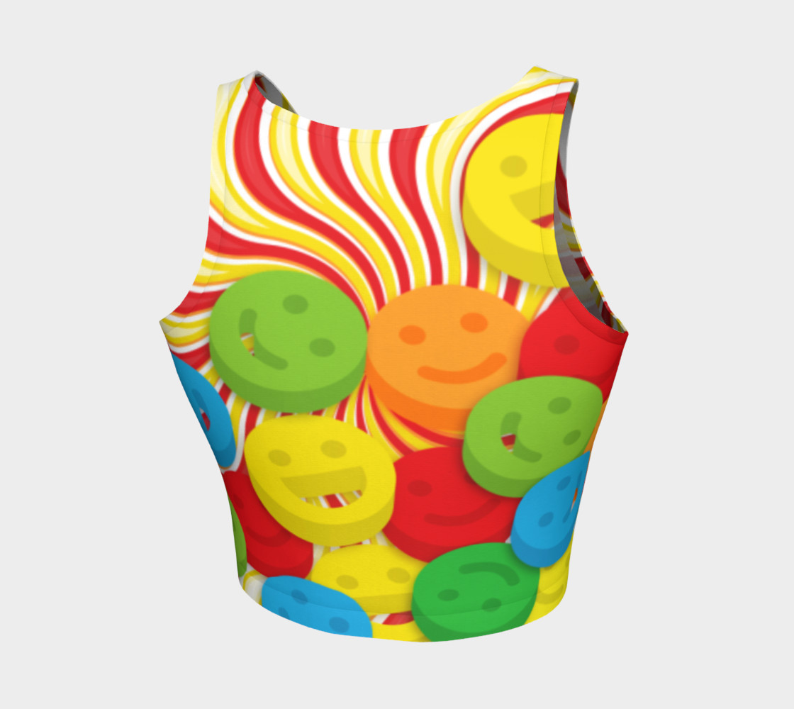 Rainbow Candy Swirls and Smiley Face Emojis Athletic Crop Top preview #2