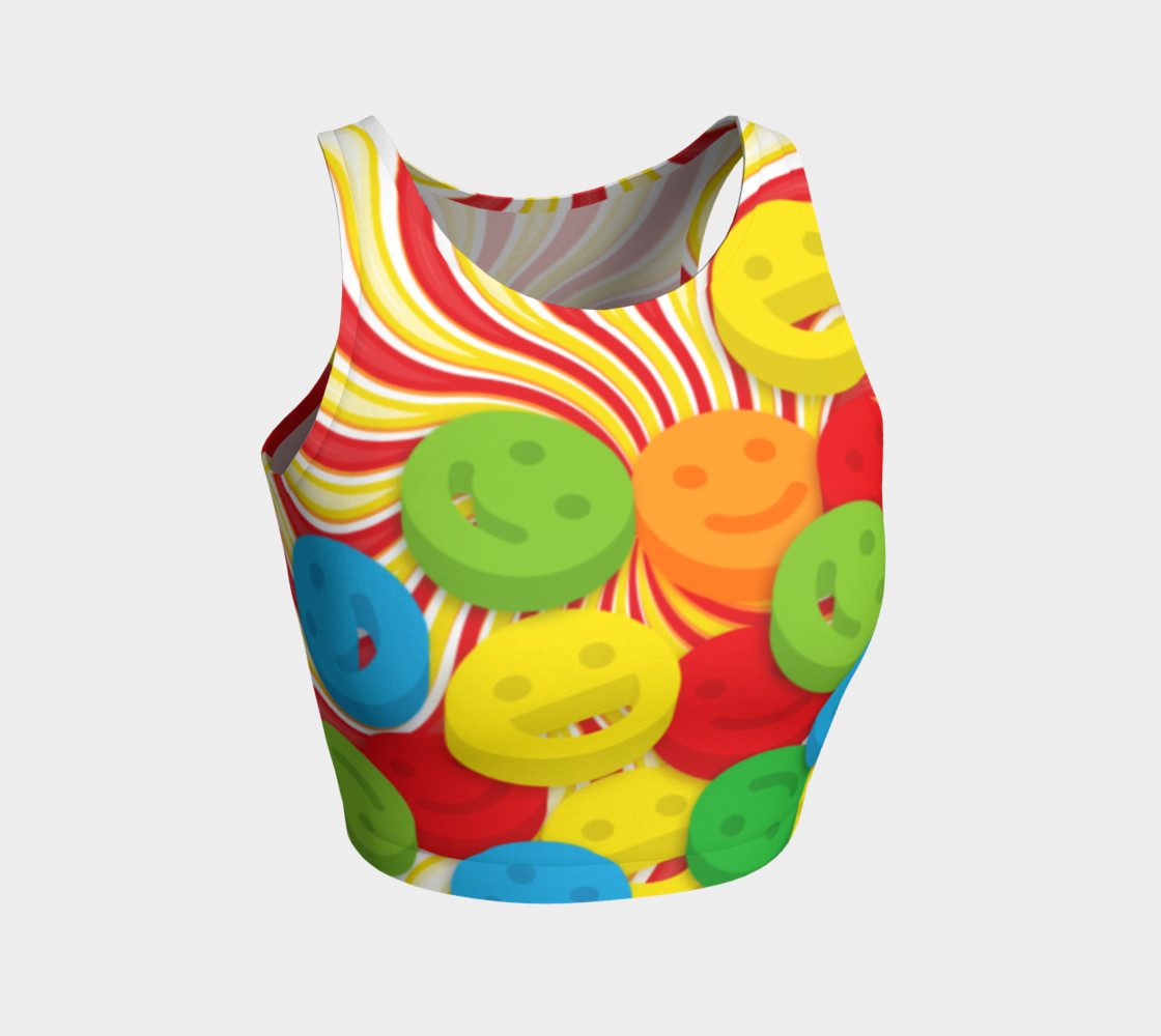 Rainbow Candy Swirls and Smiley Face Emojis Athletic Crop Top preview #1