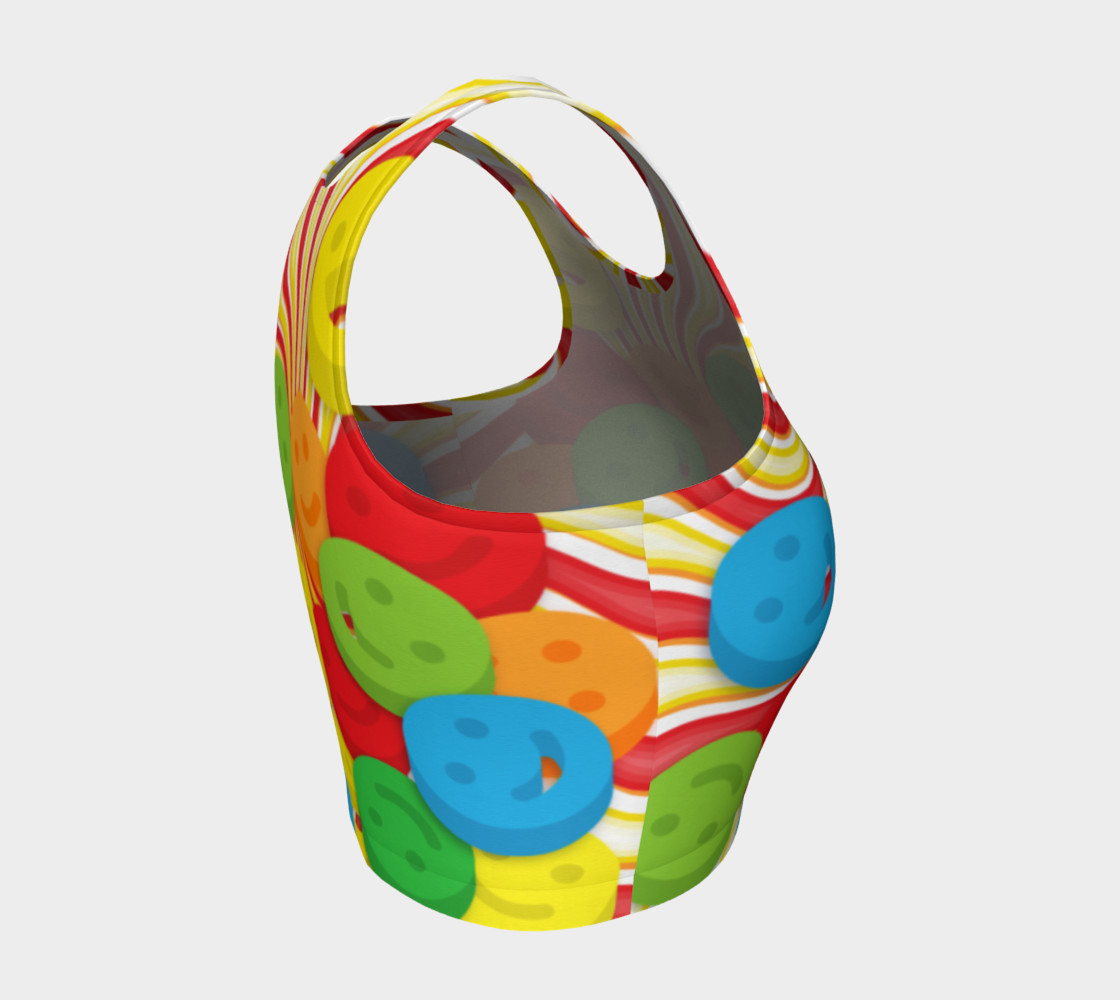 Rainbow Candy Swirls and Smiley Face Emojis Athletic Crop Top preview #4