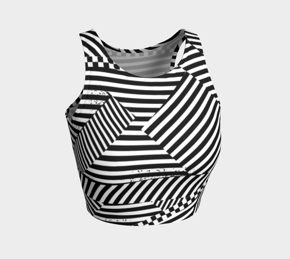 Aperçu de Black White Stripes Checkerboard Patchwork Athletic Crop Top #1