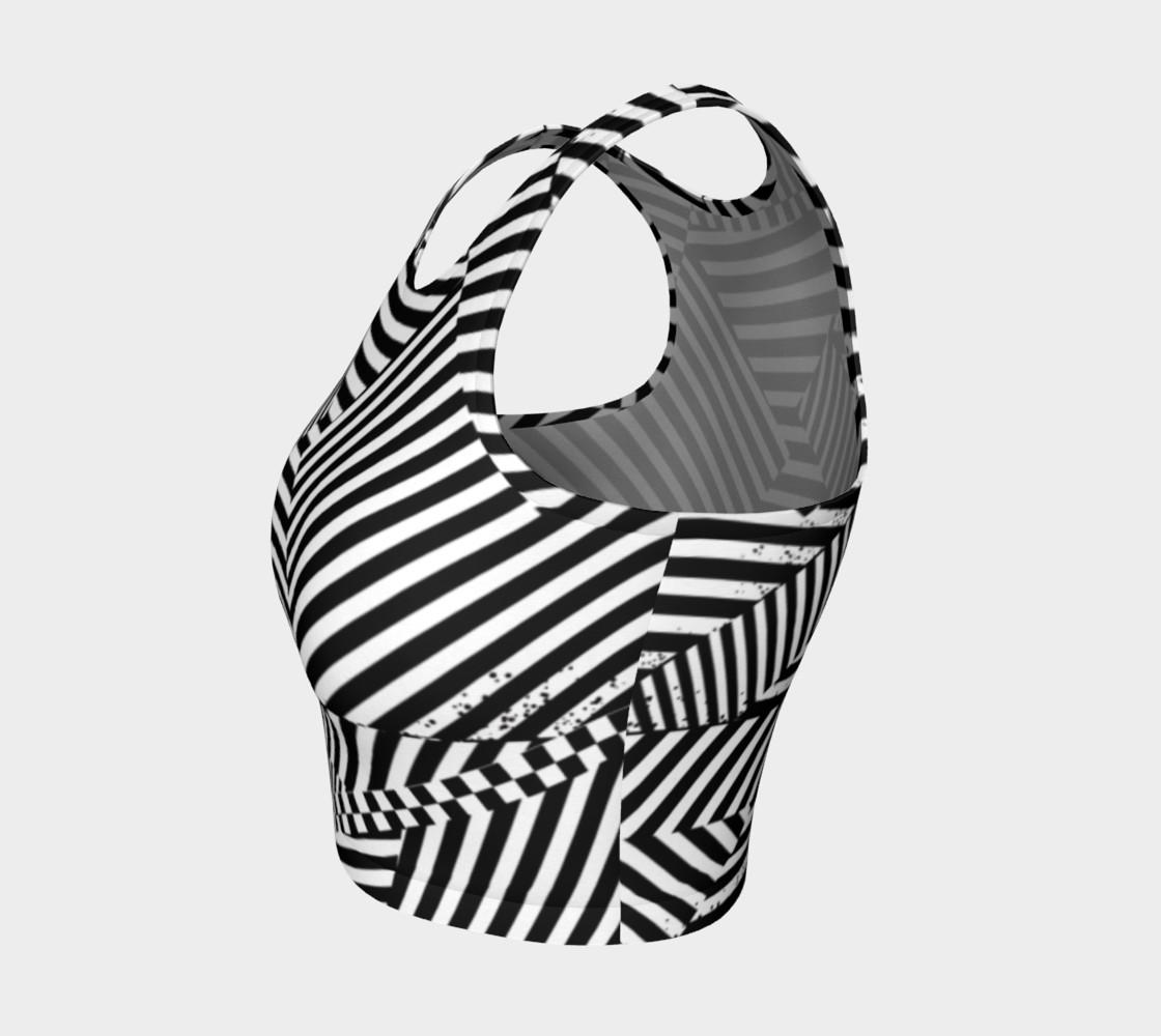 Aperçu de Black White Stripes Checkerboard Patchwork Athletic Crop Top #3