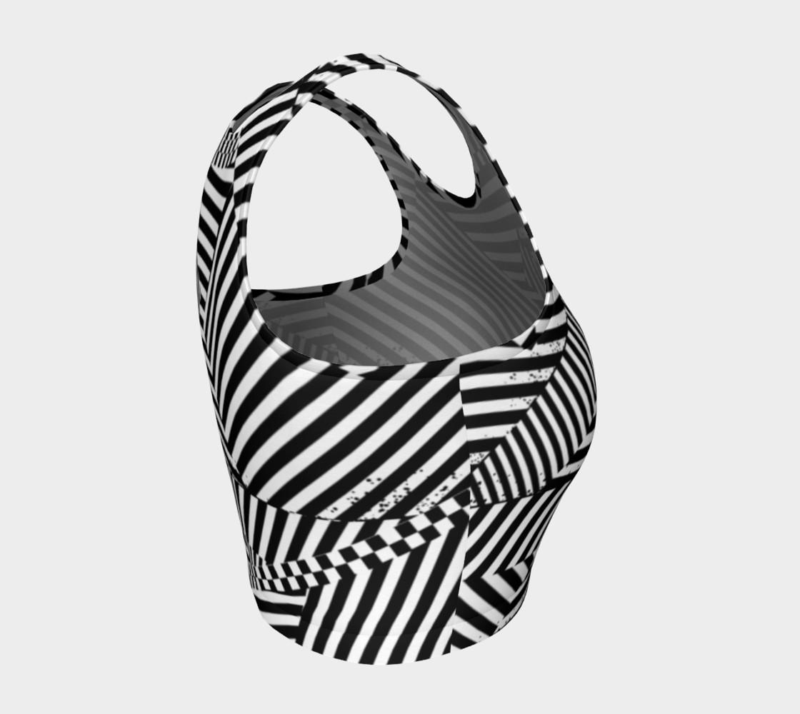 Aperçu de Black White Stripes Checkerboard Patchwork Athletic Crop Top #4