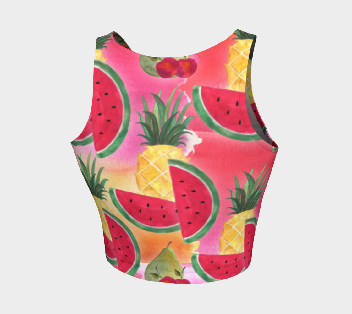 Watercolor Fruit Watermelon Pineapple Pear Cherry Athletic Crop Top Miniature #3