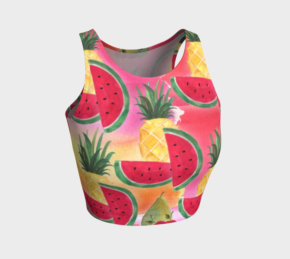 Watercolor Fruit Watermelon Pineapple Pear Cherry Athletic Crop Top Miniature #2