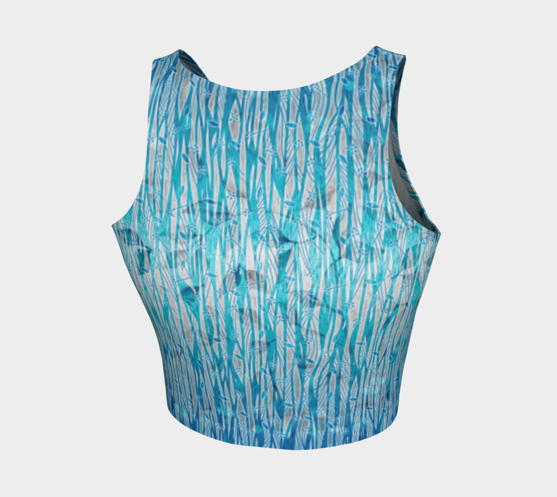 Blue Turquoise Silver Leafy Floral Athletic Crop Top preview #2