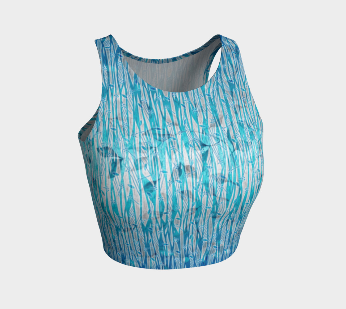 Blue Turquoise Silver Leafy Floral Athletic Crop Top preview #1