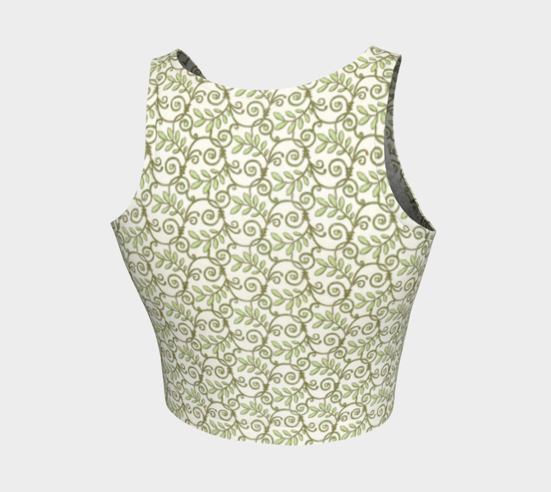 Green Cream Leafy Lace Pattern Athletic Crop Top preview #2
