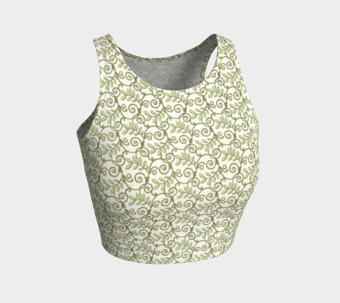 Green Cream Leafy Lace Pattern Athletic Crop Top preview #1