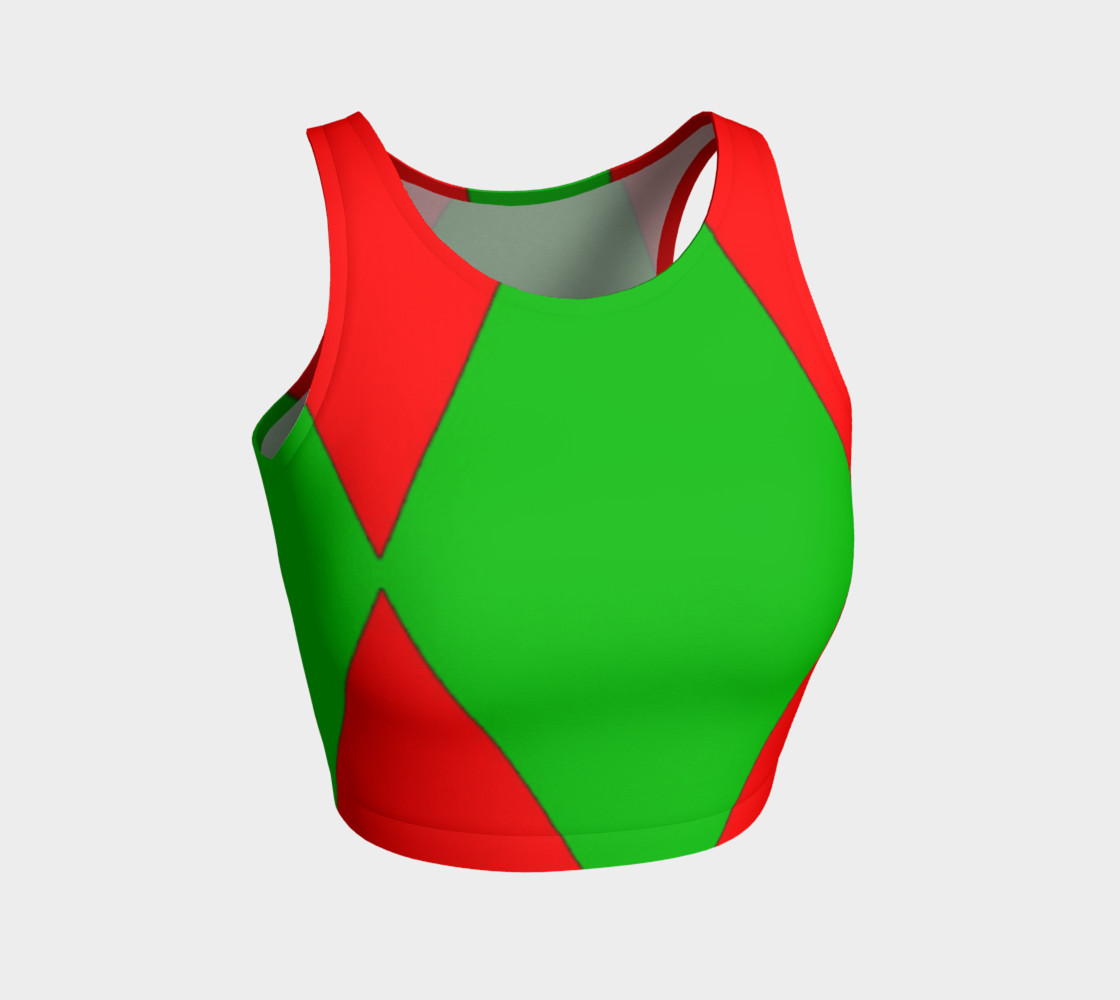 Christmas Harlequin Diamond Athletic Crop Top preview #1