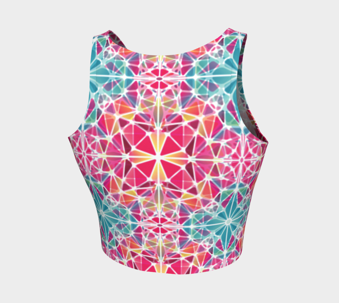 Pink and Blue Kaleidoscope Athletic Crop Top preview #2