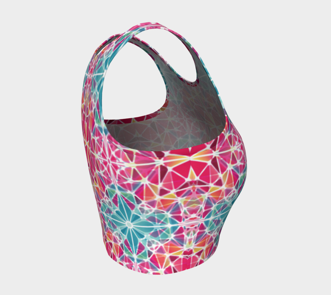 Pink and Blue Kaleidoscope Athletic Crop Top preview #4