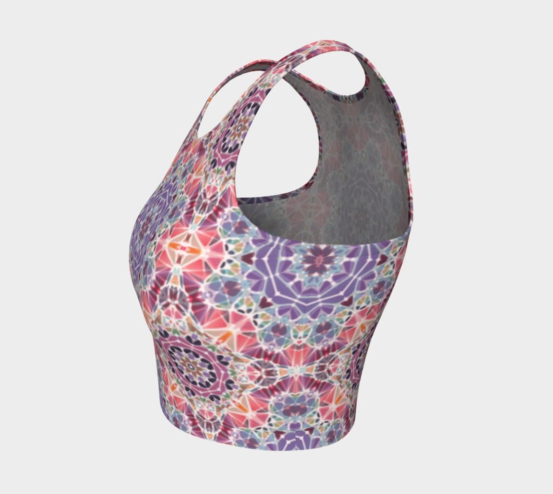 Purple and Pink Kaleidoscope Athletic Crop Top preview #3
